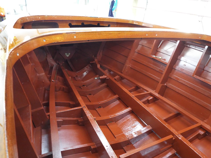 Inside the hull looking forward painted.