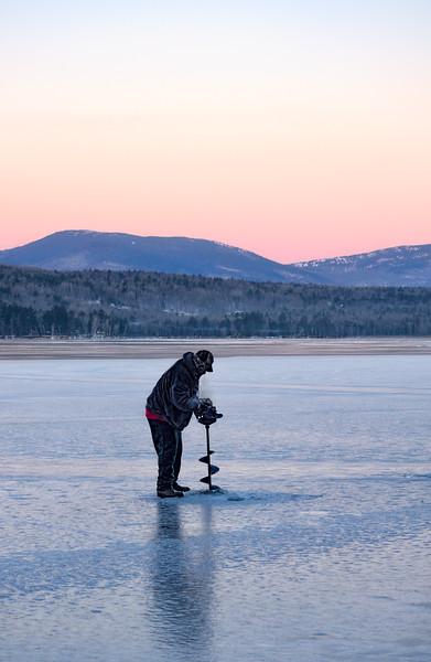 Drilling Ice on Wilson Lake, Wilton, Maine (88115)