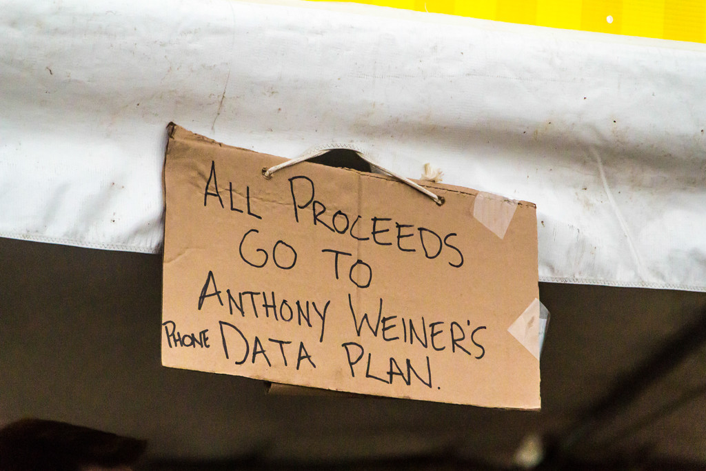 . Some of the vendors were more clever than others, like this political jab at Anthony Weiner by one of the local food vendors.