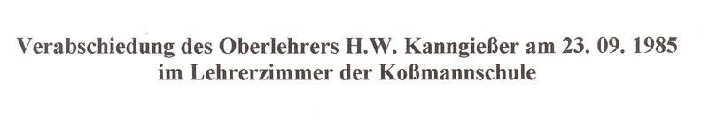 Verabschiedung des Oberlehrers H.W. Kannengiesser 1985