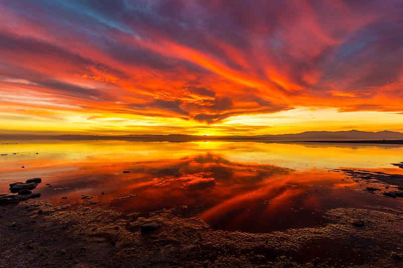 Stunning Saturday Sunset on the Shore of the Salton Sea Take 4.