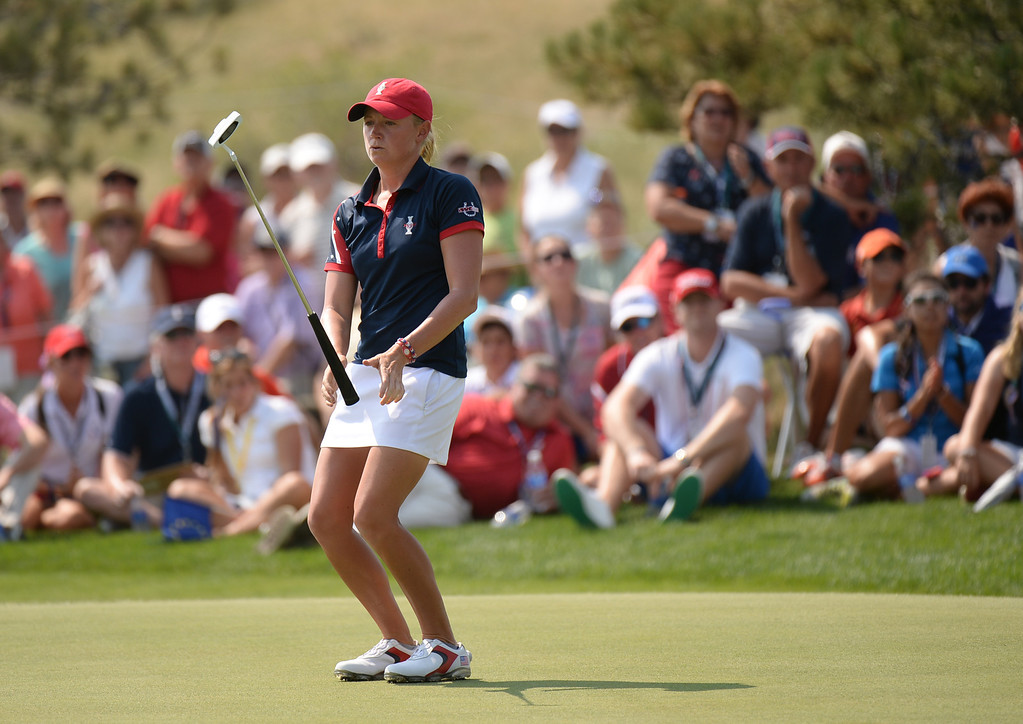 . PARKER, CO. - August 16: Stacy Lewis of team USA react after missing the putt on 9th green during 2013 Solheim Cup at Colorado Golf Club. Parker, Colorado. August 16, 2013. (Photo By Hyoung Chang/The Denver Post)