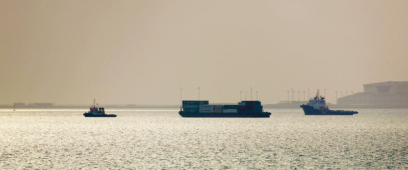 Maersk shipping in Doha Harbor