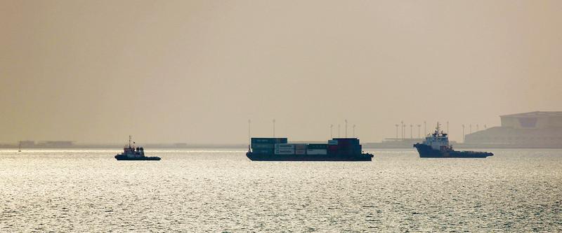 Maersk shipping in Doha Harbor