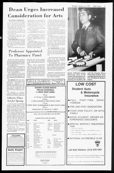 Daily Trojan, Vol. 66, No. 63, January 10, 1974