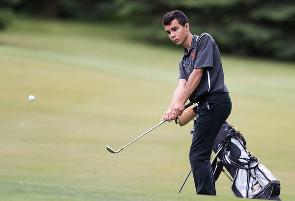 05/29/19 Wesley Bunnell | Staff New Britain golf competed along with Berlin and Goodwin Tech in the Stan Pisk Memorial Golf Tournament on Wednesday afternoon at Stanley Golf Course. Goodwin Tech's Xavier Irrizary.