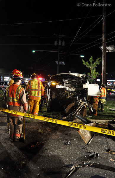 4-25-12 Paramus, NJ - Car Vs. Pole: Route 4 Westbound at Spring Valley Road