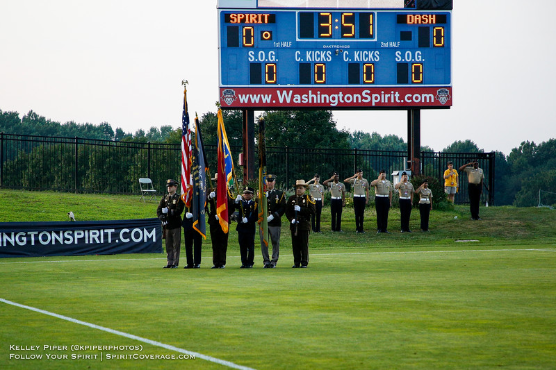 The presentation of the colors by first responders before the Washington Spirit v Houston Dash game at Maureen Hendricks Field in Boyds, MD, on July 20, 2019.