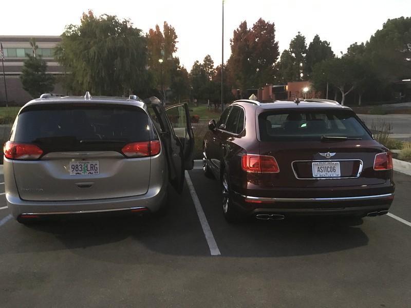 Look! A minivan parked next to my rental!