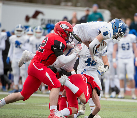 11/28/19 Wesley Bunnell | Staff Southington football vs Cheshire in the Apple Valley Classic on Thanksgiving morning at Cheshire High School. WR Jack McManus (6).