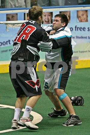 Thomas Hajek vs. Shawn Evans NLL fight - 3/29/2008 - Wings @ Knighthawks - Blue Cross Arena - Rochester, NY