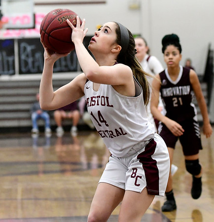 2/8/2019 Mike Orazzi | Staff Bristol Central's Erika Santilli (14) during Friday night's girls basketball game with Innovation.