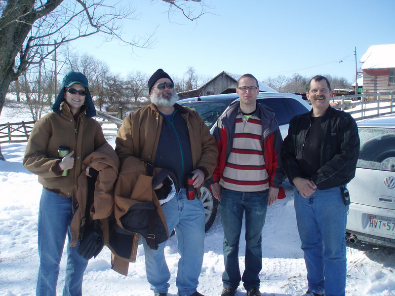 January 31, 2010: Rounders Jacco, Joe V and daughter Jackie arrive to help unload the truck. THANK YOU!!!
