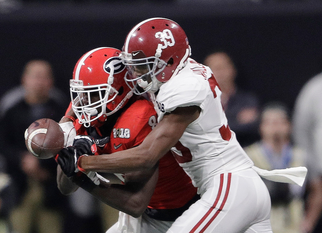 . Alabama\'s Levi Wallace breaks up a pass intended for Georgia\'s Riley Ridley during the second half of the NCAA college football playoff championship game Monday, Jan. 8, 2018, in Atlanta. (AP Photo/David J. Phillip)