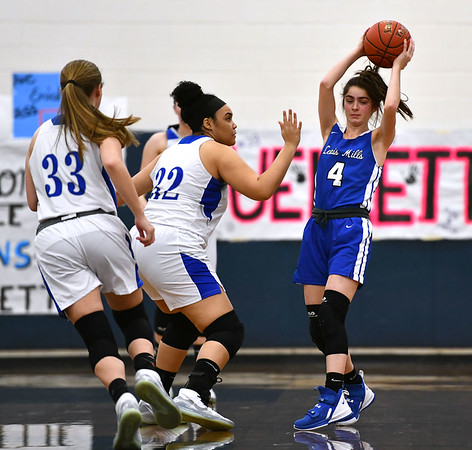 2/13/2020 Mike Orazzi | StaffrLewis Mills' Lauren Alvarez (4) during Thursday night's girls basketball game with Bristol Eastern in Bristol.