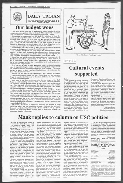 Daily Trojan, Vol. 62, No. 40, November 18, 1970