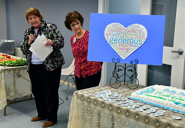 4/16/2019 Mike Orazzi | Staff The Plainville Senior Center's Shawn Cohen Ronda Guberman during a celebration to honor the spirit of volunteerism characterized by the late Betty Boukus, long-time Plainville resident, advocate and public servant on Tuesday.