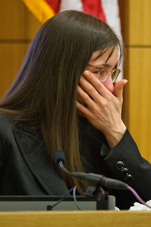 . Jodi Arias breaks down after being grilled by prosecutor Juan Martinez during his continuing cross examination at her murder trial on Thursday, Feb. 28, 2013 in Phoenix. Arias, 32, is charged in the June 2008 killing her lover, Alexander, in his suburban Phoenix home. (AP Photo/The Arizona Republic, Tom Tingle, Pool)