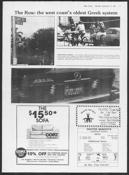Daily Trojan, Vol. 91, No. 9, September 14, 1981
