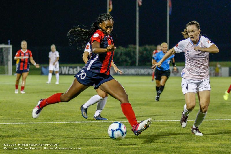 Washington Spirit forward Cheyna Matthews (20) puts in a cross at Maureen Hendricks Field in Boyds, MD, on July 20, 2019.