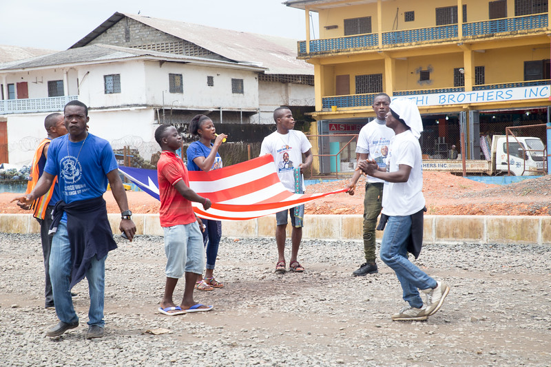Monrovia, Liberia October 6, 2017 - Supporters rally before the presidential election.
