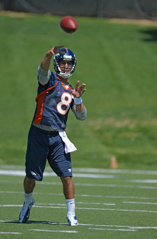 . Ryan Katz (8) quarterback of the Denver Broncos makes a throw during the last day of rookie mini camp May 12, 20313 at Dover Valley.   (Photo By John Leyba/The Denver Post)