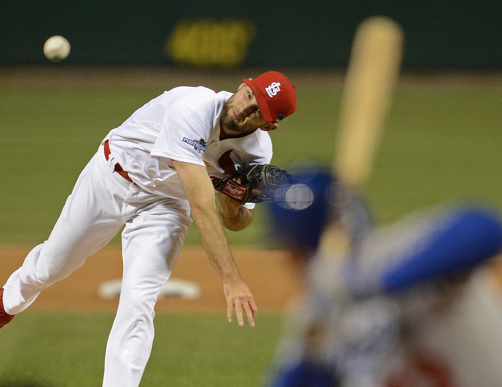 . St. Louis Cardinals starting pitcher Michael Wacha throws during the first inning of Game 6 of the National League baseball championship series against the Los Angeles Dodgers Friday, Oct. 18, 2013, in St. Louis. (AP Photo/David Klutho, Pool)