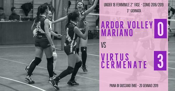 CO-U18f-2f: 3^ Ardor Volley Mariano - Virtus Cermenate