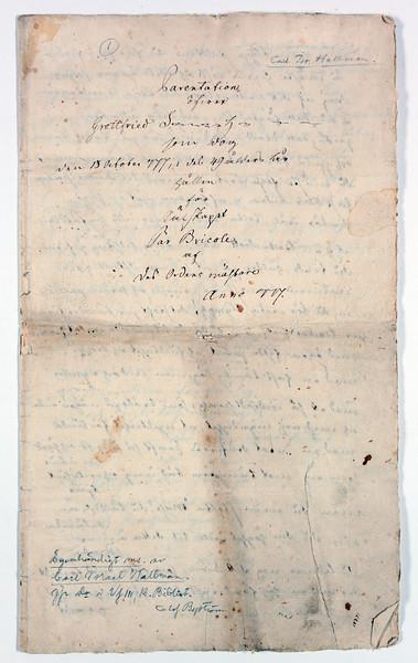 Sackenhjelms parentation 1777