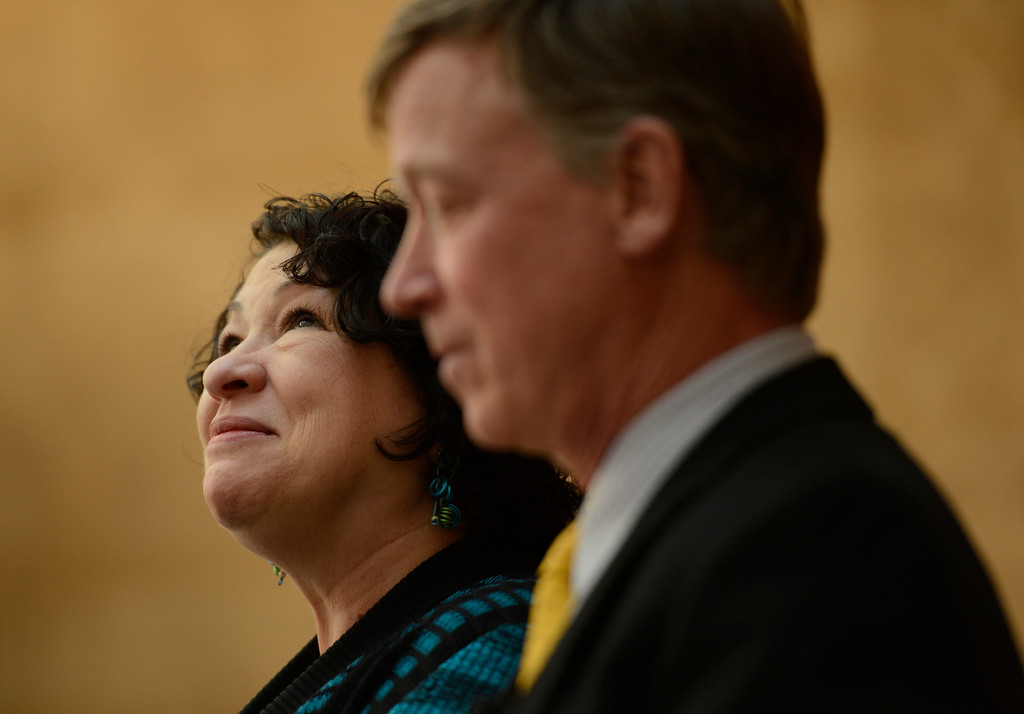 . DENVER, CO-May 02, 2013: Supreme Court Justice Sonia Sotomayor, next to Colorado Governor John Hickenlooper, looks up at the crowd during a dedication of the new Ralph L. Carr Colorado Judicial Center in Denver, May 02, 2013. (Photo By RJ Sangosti/The Denver Post)