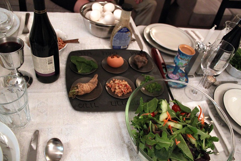 The seder table, featuring Craig's seder plate from ModernTribe
