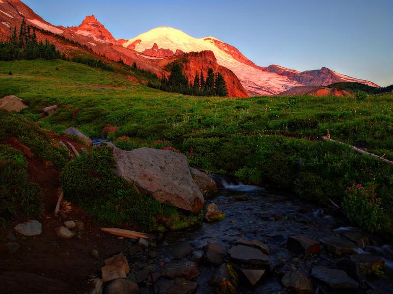 Sunrise on Mt. Rainier, Summerland.