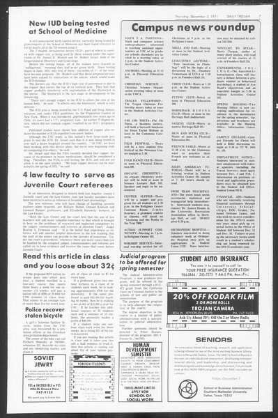 Daily Trojan, Vol. 64, No. 47, December 02, 1971