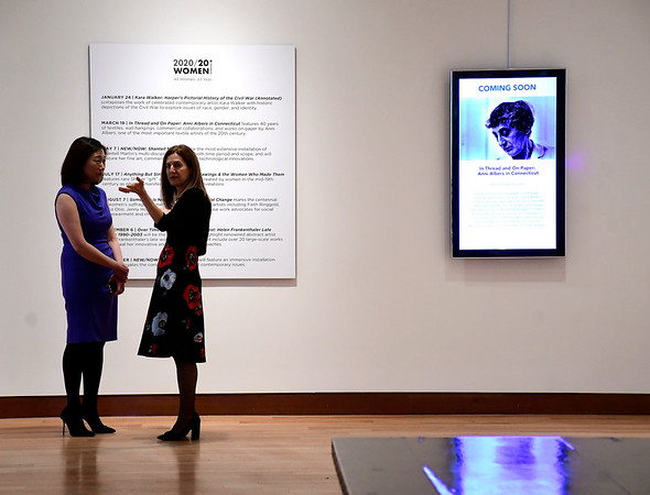 3/5/2020 Mike Orazzi | Staff Connecticut Lt. Governor Susan Bysiewicz (right) talks with New Britain Museum of American Art Director Min Jung Kim during the Stanley Black & Decker International Women's Day Celebration in New Britain on Thursday afternoon.