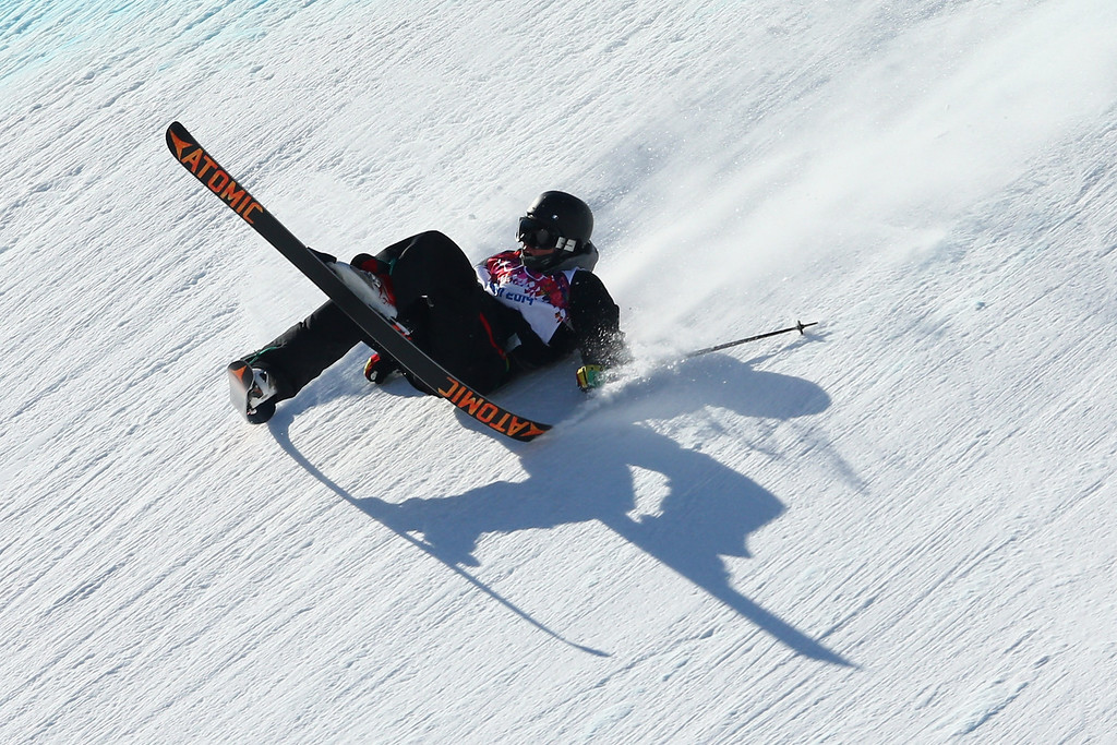 . Fabian Boesch of Switzerland crashes during Ski Slopestyle practice at the Extreme Park at Rosa Khutor Mountain ahead of the Sochi 2014 Winter Olympics on February 5, 2014 in Sochi, Russia  (Photo by Cameron Spencer/Getty Images)