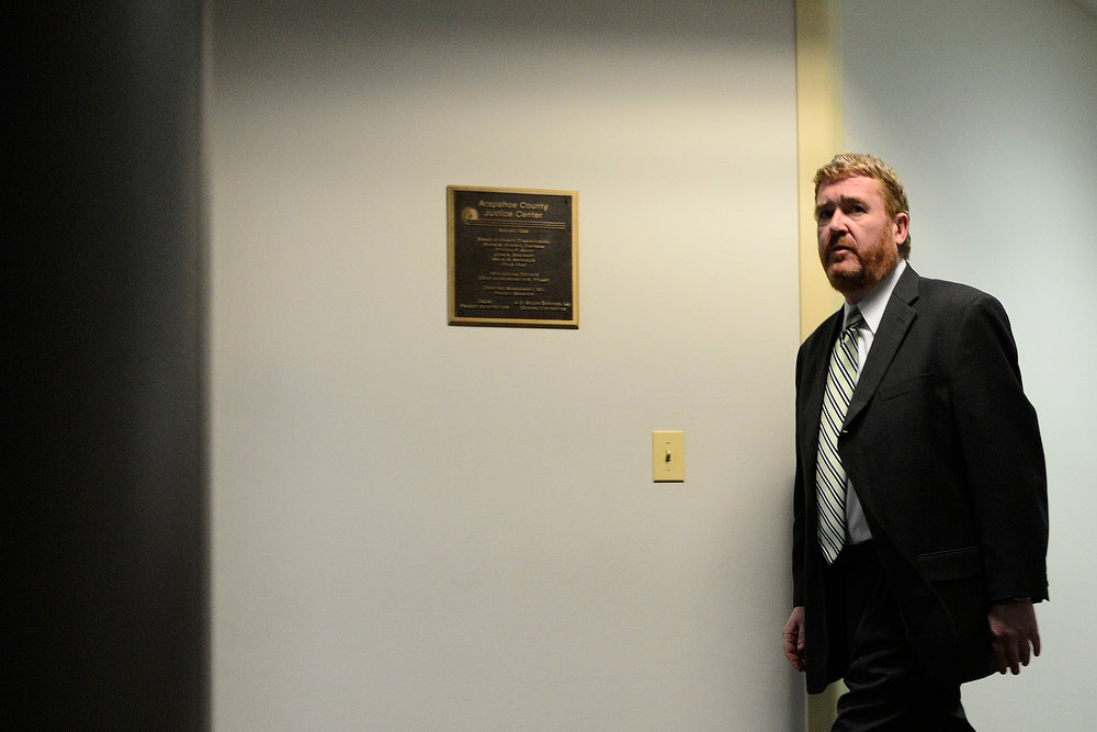 . Daniel King, of the defense team, arrives following a break in the hearing for James Holmes at the Arapahoe County Justice Center on Tuesday, January 8, 2012. AAron Ontiveroz, The Denver Post