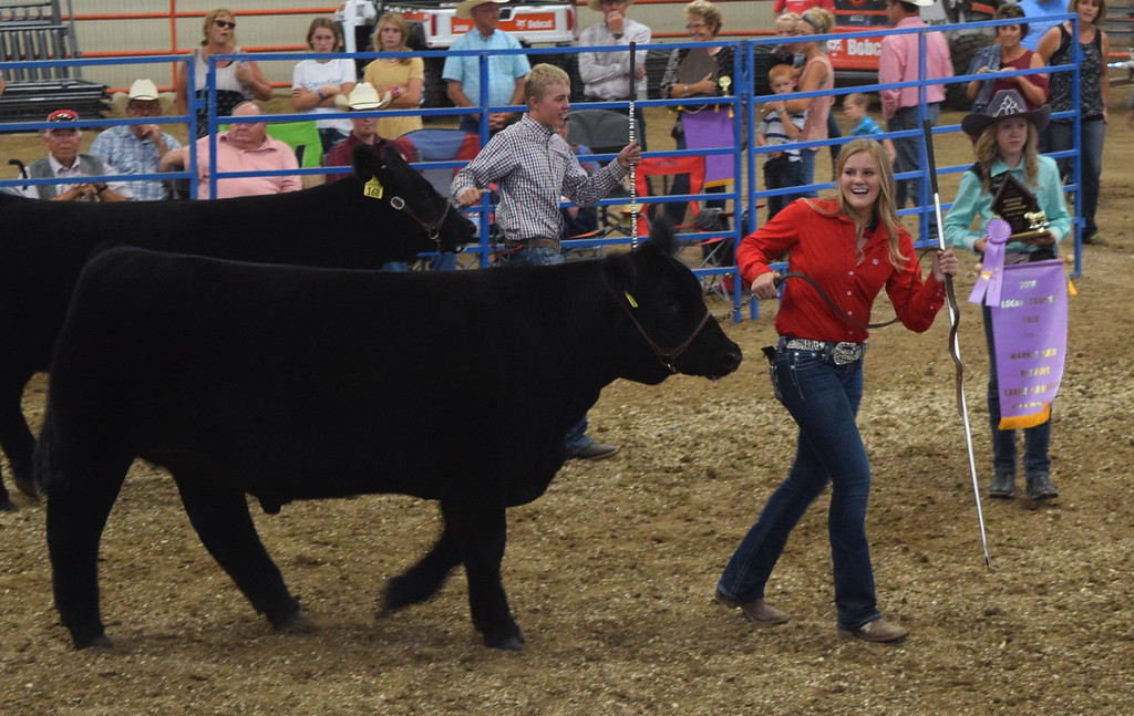 . Cassidy Paxton walks her steer around the ring after being named the Reserve Grand Champion Market Beef winner at the Logan County Fair Junior Beef Show Friday, Aug. 10, 2018.