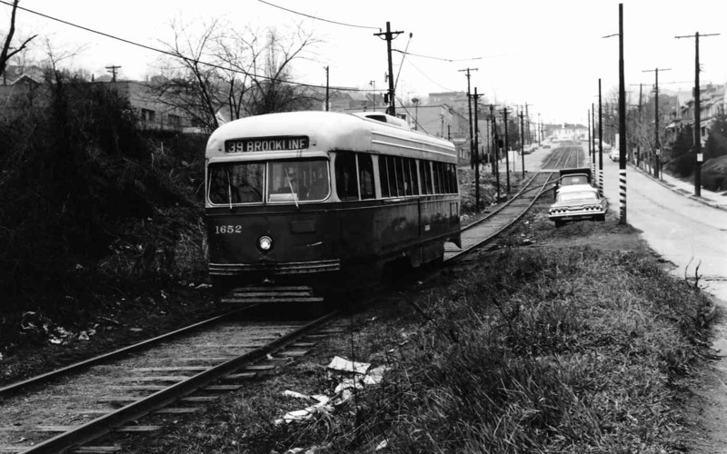 This Brookline streetcar is rolling along on private right-of-way in 1966, literally on borrowed time. It would be replaced by a dedicated busway was has failed to post the ridership numbers of the old trolleys.