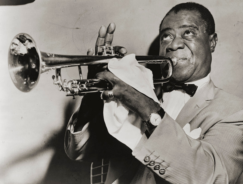 . Louis �Satchmo� Armstrong, the great trumpeter of jazz, 1953. Louis Armstrong (1900-1971) was considered by many to be the greatest of jazz trumpeters, and turned the trumpet from an ensemble into a solo instrument. His singing voice is still one of the most recognizable in American history. Library of Congress