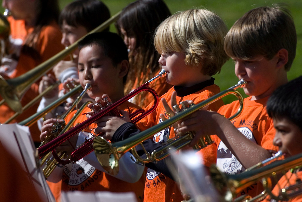 . Members of the Redlands Unified School District Combined Elementary Band play the Star Spangled Banner during the 75th annual Lincoln Pilgrimage in Redlands, CA., Saturday, February 8, 2014. (Photo by Jennifer Cappuccio Maher/Inland Valley Daily Bulletin)