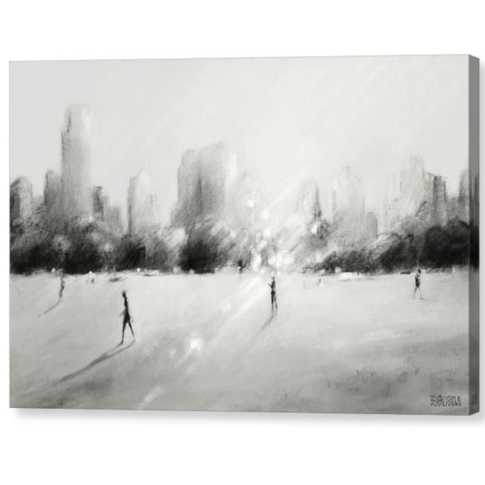Great Lawn Light Central Park Black White Gray New York Canvas Wall Art by Beverly Brown - beverlybrown.com