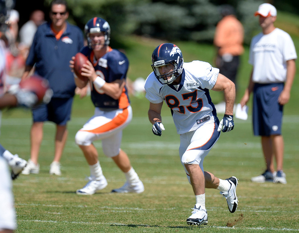 . Denver Broncos QB Peyton Manning (18) looks to throw to WR Wes Welker (83) during training camp August 12, 2013 at Dove Valley. (Photo By John Leyba/The Denver Post)