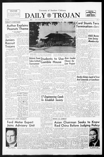 Daily Trojan, Vol. 57, No. 70, February 17, 1966