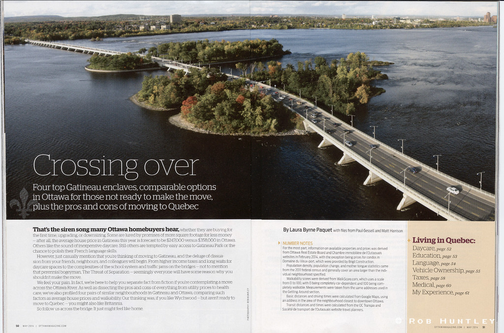 Panoramic aerial view of the Champlain Bridge across the Ottawa River between Ottawa, Ontario and Gatineau, Quebec.