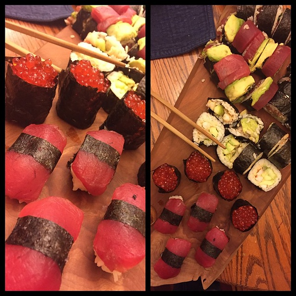 On the table tonite: Kayla's homemade sushi.