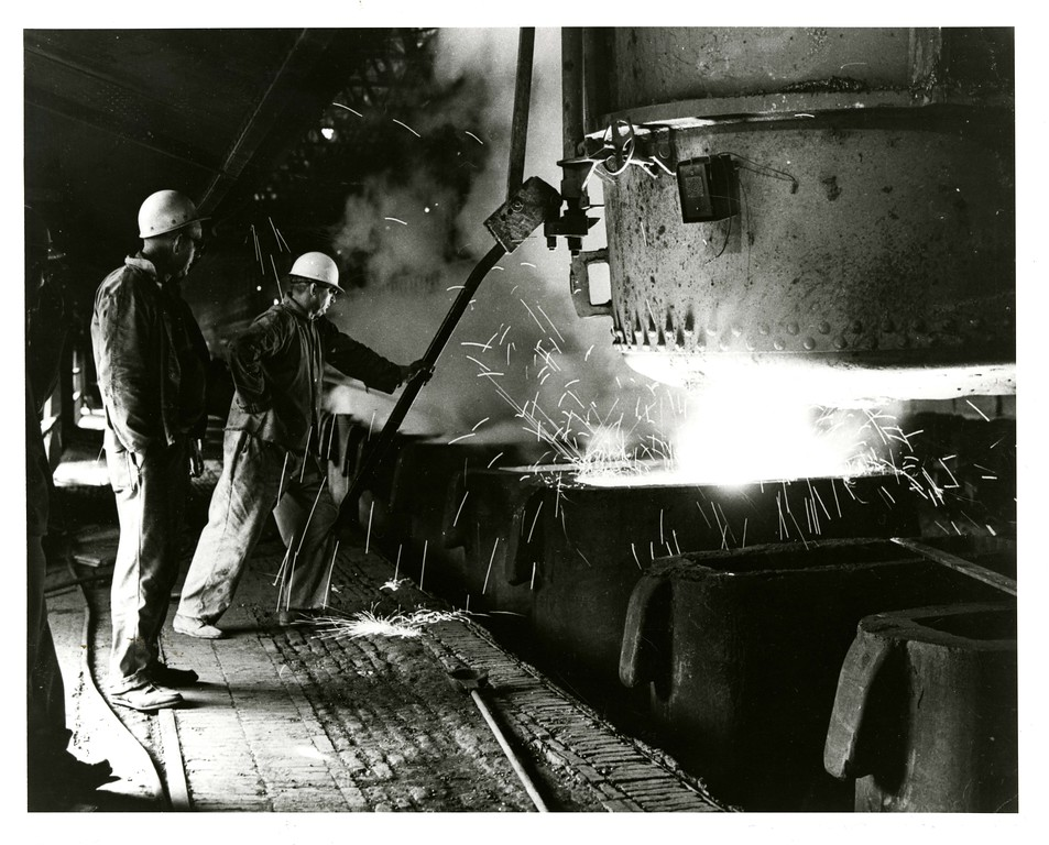 . This undated photo from the Historical Society of Montgomery County shows two men working at Alan Wood Steel in Conshohocken. The photo was taken by an executive.