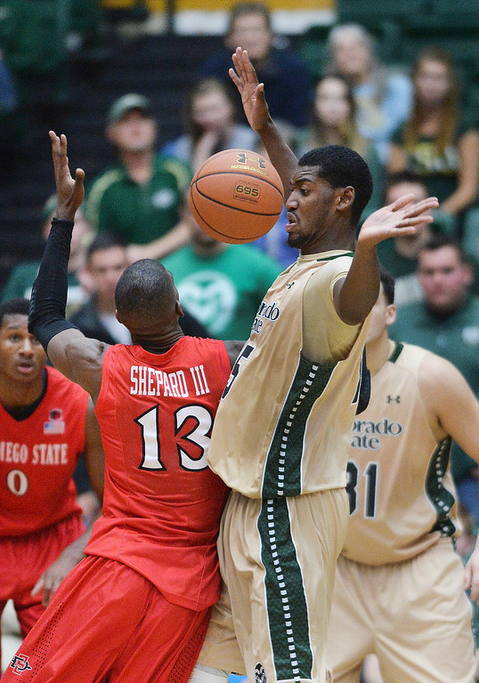 . Colorado State senior forward Gerson Santo (15) stopped Aztecs\' forward Winston Shepard (13) in the second half.  Photo By Karl Gehring/The Denver Post