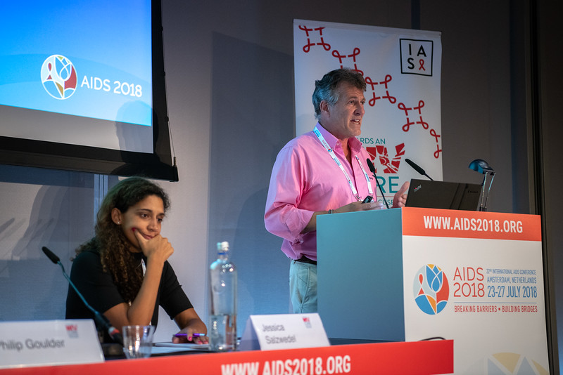 22nd International AIDS Conference (AIDS 2018) Amsterdam, Netherlands.   Copyright: Steve Forrest/Workers' Photos/ IAS  Photo shows: HIV Cure Research with the Community Workshop: Cure Research in Paediatric Population and Women. From Left to Right: Co-Chair Jessica Salzwedel, AVAC, United States; Philip Goulder, University of Oxford, United Kingdom.