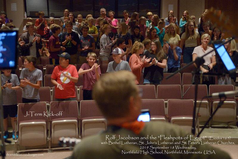 """Rolf Jacobson and the """"Fleshpots of Egypt""""  (Exodus 16:3) with Bethel Lutheran, St. John's Lutheran and St. Peter's Lutheran Churches, 2019 September 18 Wednesday, Northfield High School, Northfield, Minnesota  USA"""