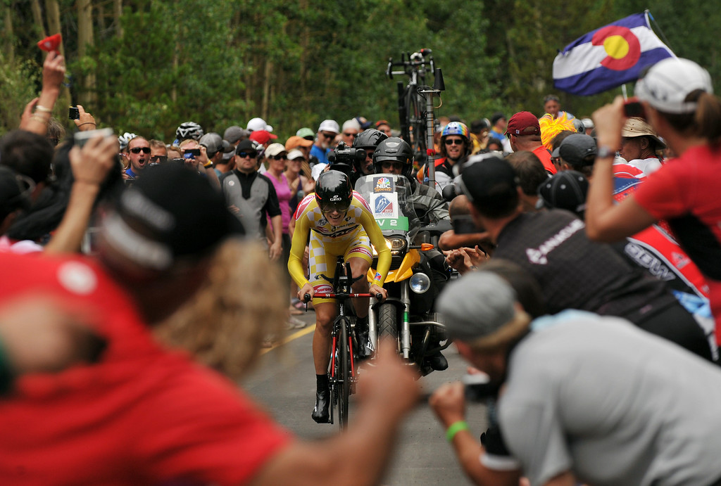 . Race Leader Tejay Van Garderen of BMC Racing Team is climbing Vail pass during the 10-mile Individual Time Trial of 2013 USA Pro Challenge, August 23, 2013. Van Garderen defended his leader jersey. (Photo by Hyoung Chang/The Denver Post)
